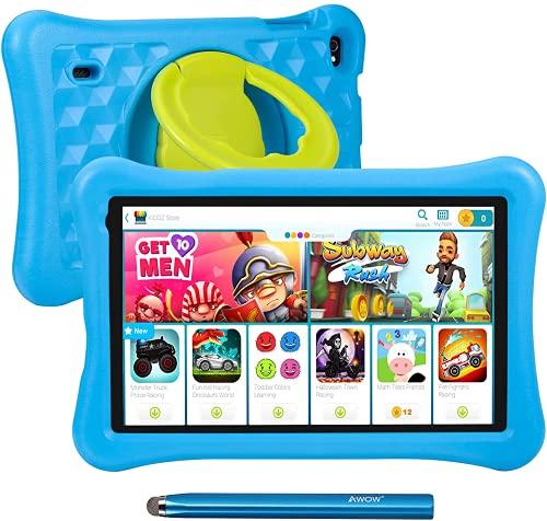 Tablette pour Enfants 10.1 Pouces AWOW Tablette Tactile Enfants, Android 10 Go Quad Core, ROM 32G, KIDOZ Préinstallé, avec étui Kid-Proof et Stylet Tactile, Contrôle Parental, Double Caméra, Bleu