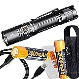 Bundle: Fenix PD35 v3.0 1700 Lumen Tactical Flashlight with Two USB Rechargeable Batteries