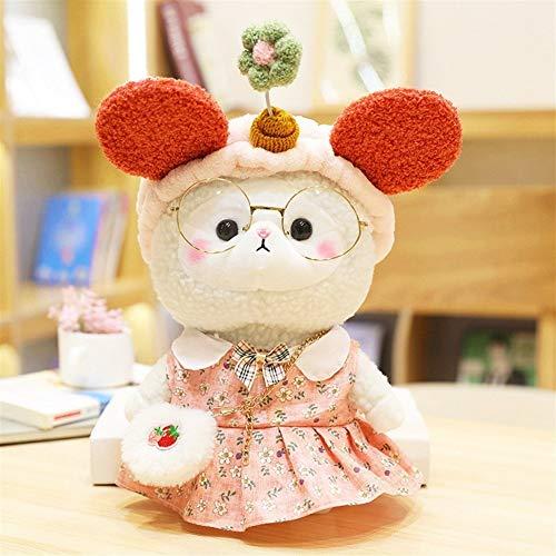 HOUMEL Peluche de alpaca con relleno de peluche, tamaño pequeño, para regalo de cumpleaños, dormitorio, salón, 30 cm, 298 (color rojo)