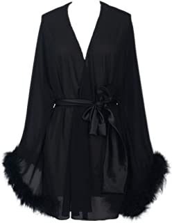 Feather Sleeve Short Bridal Robe with Sash Short Sexy Night Gown Pajamas