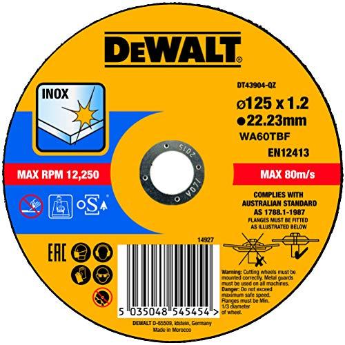 DEWALT DT43904-QZ DT43904-QZ-Disco de Corte Plano INOX con Grano Profesional de óxido de Aluminio Thin Cut 125 x 1.2 x 22.23 mm, Multicolor