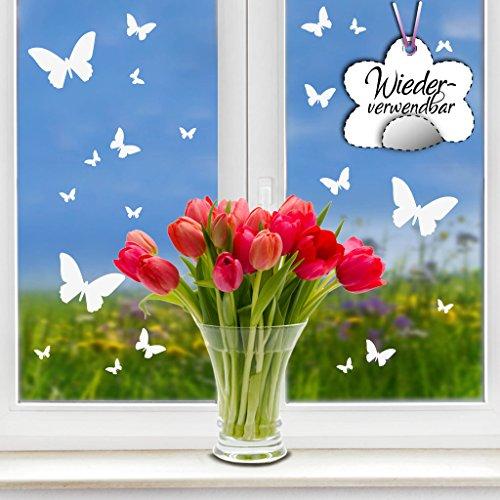 Wandtattoo-Loft Fensteraufkleber Frühling Schmetterlinge in der Farbe WEIß WIEDERVERWENDBAR / 20 Aufkleber im Set/Fensterbilder Ostermotiv/Fensterdeko Set