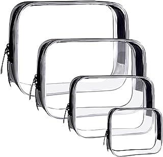4pcs Trousse de Toilette Transparente, Portable Sac Cosmétiques Portable Pochette Maquillage Sac Cosmétiques PVC Étanche M...