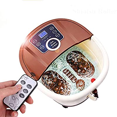 Anfan Portable Foot Spa Bath Massager with Motorized Rolling Massage | 4 Pro-Set Program - Bubble & Auto Heating, Red Light Sterilization, Frequency Conversion, Time Setting
