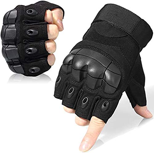 Serveuttam Tactical Fingerless Gloves for Motorbike Motorcycle Cycling Climbing Hiking Hunting Gloves (Black)