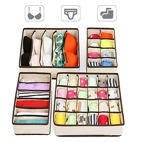 Armario Organizadores Cajón Divisores, Set de 4 plegable debajo de la cama Dresser Organización Fabric, cajas de almacenamiento Cubo Basket Bins Contenedores Organizing para ropa...