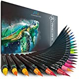 Artconvention® 24+2 Pinselstifte Set Aquarell I Watercolor Brush Pen Set inklusive 2 Wassertankpinsel & Gratis Ebook I Handlettering Stifte für Kalligraphie