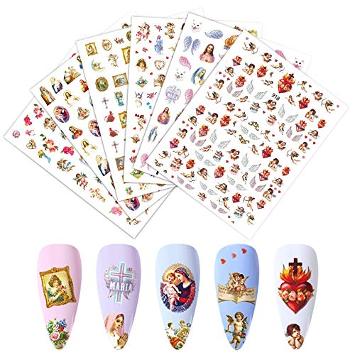 EBANKU 6 Sheets 3D Angel Pattern Nail Sticker Colorful Flower Nail Art decals Self-Adhesive Baby Wing Pattern Nail Transfer Stickers for Valentine's Day Nails Design