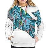 TENJONE Women's Hoodies Sweatshirts,Humpback Whale Figure by Ethnic Abstract Sea Underwater Artwork Print XL