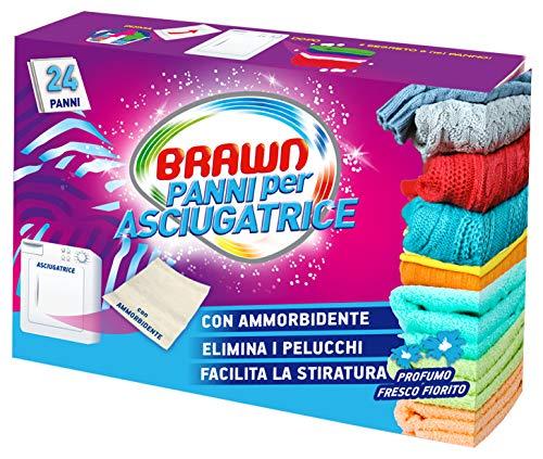 Brawn Set 10 Panni ammorbidente + profumati per asciugatrice 24 Pezzi