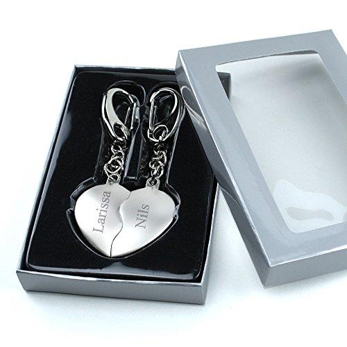 4youDesign Herz Schlüsselanhänger Geteilte Herzen INKLUSIVE Gravur Geschenk für Paare & Verliebte