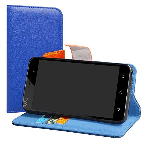 LiuShan Wiko Jerry/Wiko K-Kool Hülle, Brieftasche Handyhülle Schutzhülle PU Leder mit Kartenfächer & Standfunktion für Wiko Jerry/Wiko K-Kool Smartphone,Deep Blue