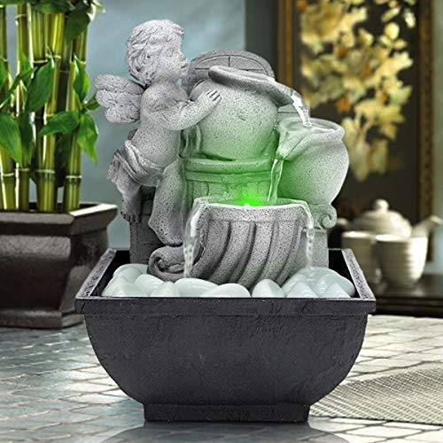 AMPLE Indoor USB Relaxation Desktop/Tabletop Fountain with LED Light and Decoration Stones