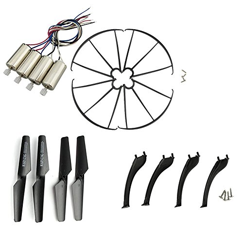 Upgraded Spare Parts Replacement for Syma X5S X5SC X5SW RC Quadcopter Rc Helicopter Copter Toy Motor Main Blade Propellers Propeller Protectors Blades Frame Landing Skid Included Screws Set (Black)