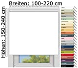 EFIXS Thermorollo Medium - 25 mm Welle - Farbe: Weiss (051) - Größe: 160 x 190 cm (Stoffbreite x Höhe) - Hitzeschutzrollo...