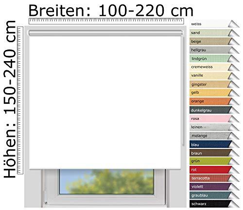 EFIXS Thermorollo Medium - 25 mm Welle - Farbe: Weiss (051) - Größe: 220 x 190 cm (Stoffbreite x Höhe) - Hitzeschutzrollo - Verdunklungsrollo