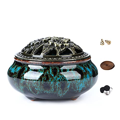 LAMDAWN Ceramic Incense Burner with Incense Stick Holder + Insulation use for Stick or Coil Incense, Sage Cones and Frankincense (Fambe Blue)