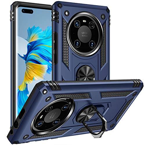 Fetrim Hülle Kompatibel für Huawei Mate 40 PRO, stoßfest Schutzhülle mit Drehring Ständer für Huawei Mate 40 PRO Navy blau