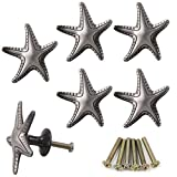 SCRTB 6Pcs Creative Starfish Knobs Furniture Handle Cabinet Dresser Drawers Cupboards Wardrobes Bookcase Pull for Home Kitchen Bathroom Decoration Hardware Accessories