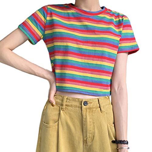 Haoohu - Camiseta de manga corta para mujer, diseño de rayas, color arcoíris, Azul, XL