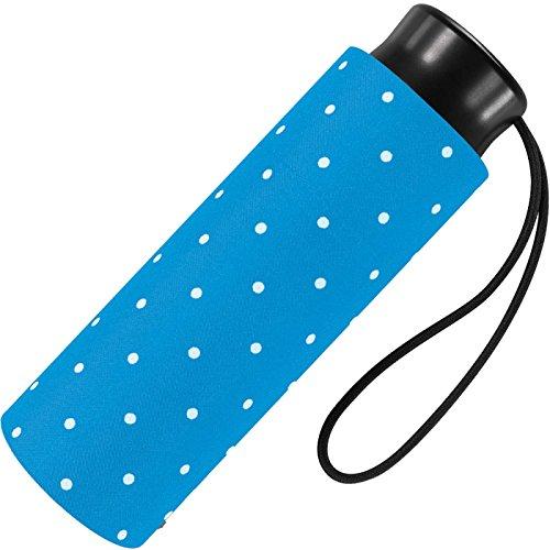 Ultra Mini Taschenschirm Damen Regenschirm Flash - Dots - hellblau