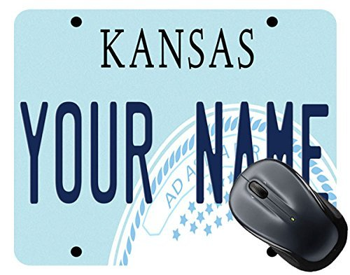Brgiftshop personalize your own kansas state license plate square mouse pad
