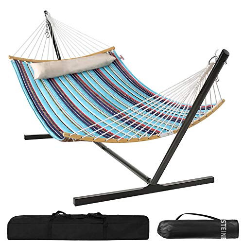 Large 2 Person Double Hammock with 12FT Portable Steel Stand, Quilted Fabric with Foldable Curved...