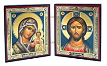 Russian Icons Virgin Mary and Christ Matching icon set Gold silver foiled icons mounted on wood - can be used a s a traveling icon diptych Measures - 3 inch tall x 5 1/4 inch width - when diptych is closed width is 2 3/8 Inch Hinged for easy display ...
