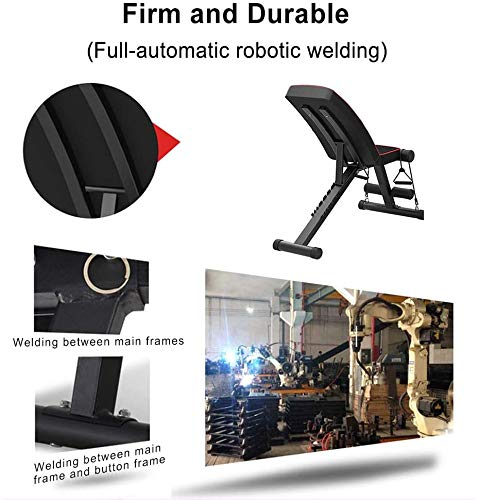 Yoleo Adjustable Weight Bench - Utility Weight Benches for Full Body Workout, Foldable Flat/Incline/Decline FID Bench Press for Home Gym (Black)
