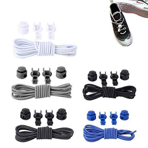 FansQ 5 paires de lacets à dégagement rapide, Lacets Élastiques Autobloquants pour Chaussures, lacets ronds pour adultes et enfants, avec différentes combinaisons de couleurs