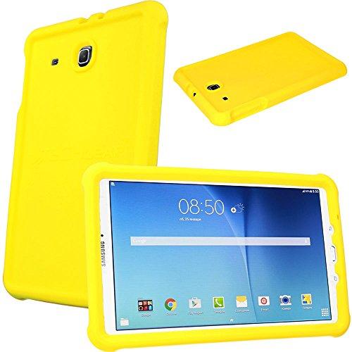 TECHGEAR Schutzhülle für Samsung Galaxy Tab E 9,6 (T560 T565), [Kinderfreundlich] Leichtes Koffer Silikon Soft Shell Anti-Rutsch-Shockproof verstärkte Ecken + Displayschutzfolie. - Gelb