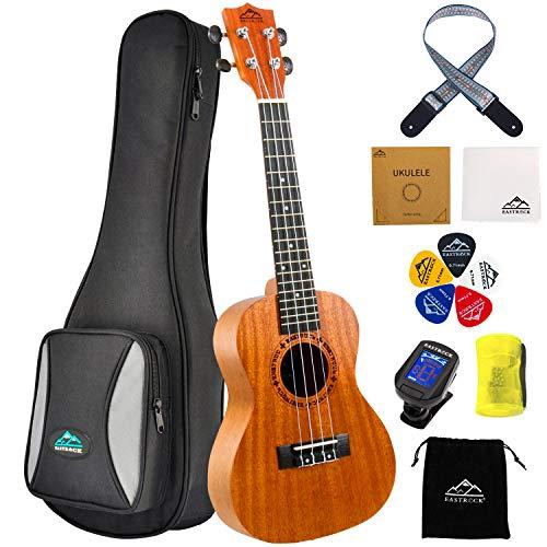 EastRock konzert Ukulele Mahagoni Ukulele Anfänger 23 Zoll Massivholz Ukulele Kleine Hawaii Gitarre Ukulele für Kinder und Erwachsene mit 5 Plektren,Tasche und Stimmgerät