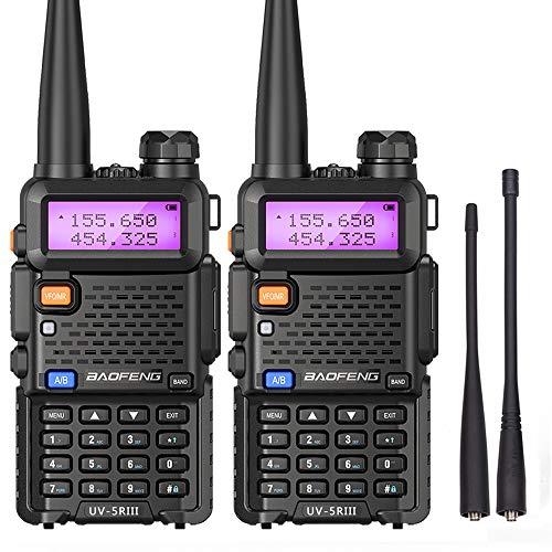 Baofeng Radio Tri-Band Walkie Talkies Ham CB Portable Two Way Radio with Dual Band Antenna (2Pack)