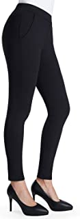 Women's Stretch Skinny Leg Dress Pants Workout Non See-Through Yoga Work Pants with Pockets