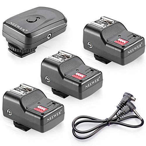 Neewer 10075893 16-Kanal Funk Blitzauslöser Set: 1 Sender + 3 Empfänger + 1 Sync-Kabel für Canon, Nikon, Pentax, Sigma, Vivitar und andere Blitzgeräte...