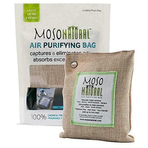 Moso Natural Air Purifying Bag. Bamboo Charcoal Air Freshener, Deodorizer, Odor Eliminator, Odor Absorber For Cars and Closets. 200g Natural Color