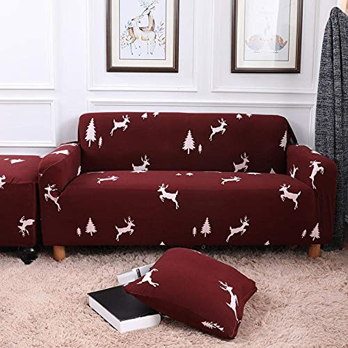 WLVG Funda elástica para sofá de 1 plaza, 90 – 140 cm, color rojo, suave y elástica, para salón, sofá, cama, sillón, sillón, perros, mascotas