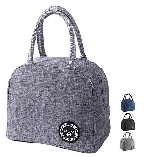 NHHEO Pequeña bolsa térmica, para llevar el almuerzo, para llevar al aire libre, barbacoa, trabajo, almuerzo (gris)