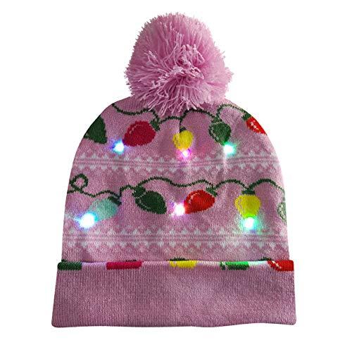Dasongff LED Weihnachten Strickmütze Beanie Hat dekorative Geweih Strickmütze Wintermütze warme Mütze Weihnachtsmützen LED Mütze Weihnachtsmann Lustige Mütze mit Licht