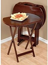 Oversized 5 Pc. Tv Tray Set, 4 Tray Tables and Stand, Mahogany Color, Dimensions: Weighs 10.4 Lbs, 23.5 Wide X 17 Long X 26 in Height