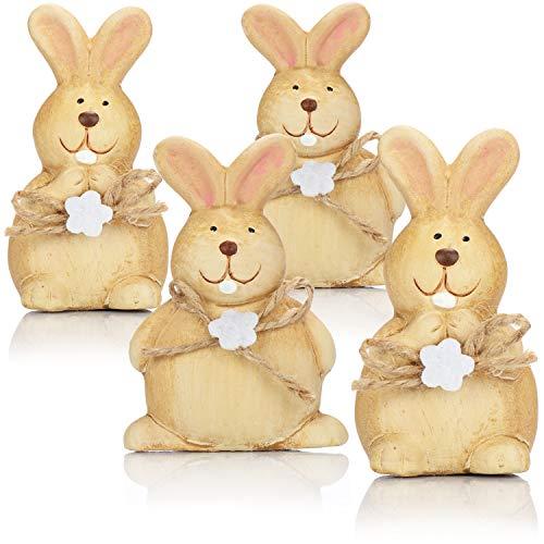 com-four® 4X Deko-Osterhase aus Keramik mit Schleife und Blume - hangefertigte Dekofiguren zur Osterdekoration - Deko-Hase mit weißen Zähnen [Auswahl variiert!] (4 Stück - Osterhase - Schleife)