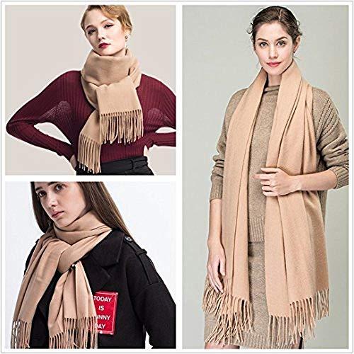 Colleer Pashmina Style Wrap Sciarpa Tinta unita Scialle Pure Cashmere - Tutte le stagioni rosa Etichettalia unica