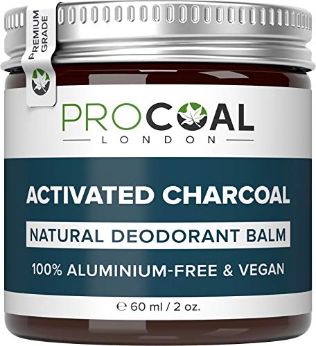 Natural Deodorant with Activated Charcoal by PROCOAL - 100% Aluminium Free & Vegan Deodorant For Women & Men, Cruelty-Free, Plastic-free, Made in UK