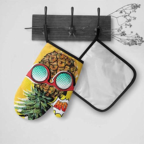 LMFshop Mädchen Ofenhandschuhe Pop Art Comic Poster Bild Ananas Mädchen Ofenhandschuhe Ofenhandschuh und Topflappen Set Wasserdicht Hitzebeständig Für Grillen Kochen Backen Grillen Grillen