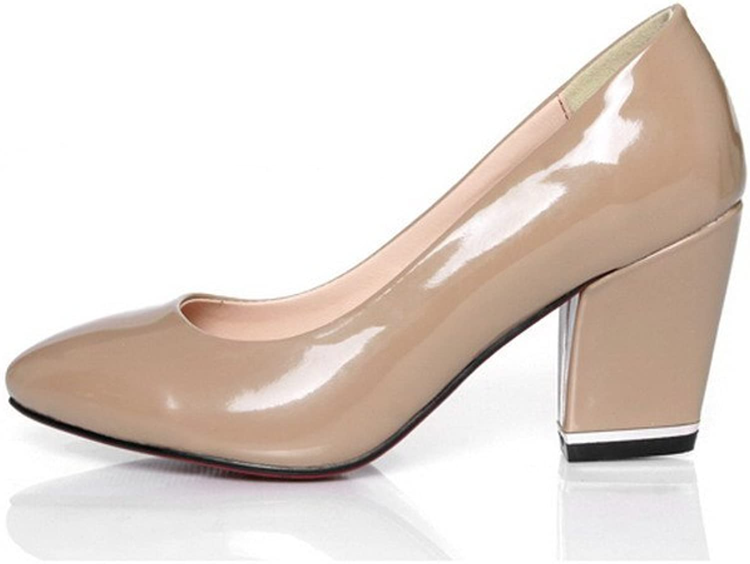 WeiPoot women's Soft Material Solid Closed Toe Pumps with Shallow Mouth and Chunky Heels