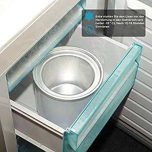 Eismaschine 1,5L Elektrische Speiseeisbereiter Zuhause Ice Cream Maker Frozen Yogurt Sorbet mit Leise Mischpaddel 30min Auto Shut Off Timer (ohne kompressor) BPA frei