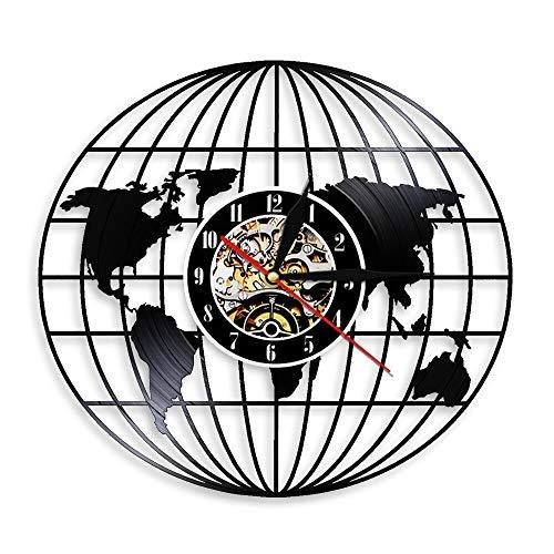 shiyueNB Mapa del Mundo de la Tierra Retro CD Reloj Retro 3D Globo terráqueo Mapa del Mundo Reloj de Pared de Vinilo Reloj de Pared