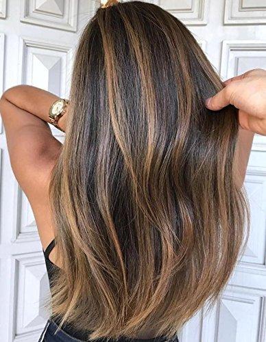 Moresoo Perruque Femme Bresilienne Lace Frontal 130% Densité 24 Pouces #4 Marron Melanger avec #27 Blonde Caramel Lace Front Wig Human Hair Straight