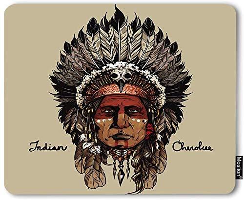 Alfombrilla de ratón Indio Cherokee Warrior Native American Art Culture Jefe Cabeza de Dibujo a Mano Alfombrilla de ratón para Juegos Base de Goma Antideslizante Alfombrilla de ratón Gruesa