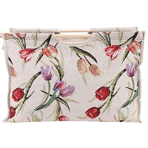 Stricken Tasche, Exquisite Holzgriff Stoff Aufbewahrungstasche Handarbeitstasche Häkeln, für Stricknadeln Nähwerkzeuge (rote Blume)